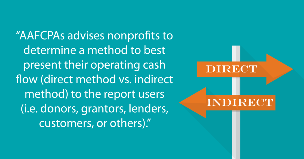 """""""AAFCPAs advises nonprofits to determine a method to best present their operating cash flow (direct method vs. indirect method) to the report users(i.e. donors, grantors, lenders, customers, or others)."""""""